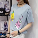 Jual Beli Kaos Wanita Lengan Pendek Kerah Bulat Model Longgar 667 Biru Baru Indonesia
