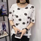 Spesifikasi Kaos Wanita Lengan Pendek Kerah Bulat Model Longgar 774 Putih Murah