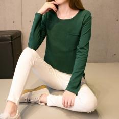 Kaos Oblong Lengan Panjang Wanita Versi Korea (126 (hijau tua) saku) (126 (hijau tua) saku)