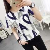 T Shirt Longgar Wanita Gaya Korea 292 Biru 292 Biru Asli