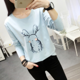 Toko Looesn Versatile Plus Sized Long Sleeved T Shirt Women S Top 183 Biru Online Terpercaya