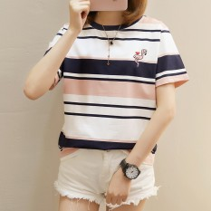 2018 musim panas item baru Gaya Korea longgar Gemuk tambah besar motif garis bordir Lengan Pendek lengan pendek baju kaos wanita