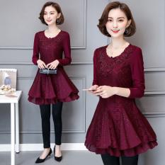 Beli Mm2017 Tambah Beludru Musim Gugur Dan Dingin Baru Setengah Panjang Model Baju Dalaman Atasan Merah Baju Wanita Baju Atasan Kemeja Wanita Blouse Wanita Oem