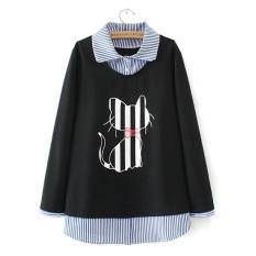 Longgar Mm2018 Musim Semi Wanita Baru Yang Tidak Kenal Dua Potongan Kaos Sweater Baju Dalaman (0859-Hitam Yang Tidak Kenal dua Potongan Lengan Bergaris)