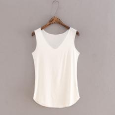 Longgar Modal Perempuan V Neck Tanpa Lengan Bottoming Kemeja Harness Vest Putih Baju Wanita Baju Atasan Other Diskon 30