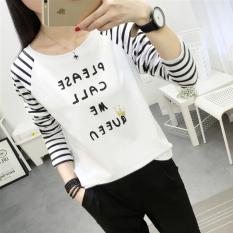 Longgar Musim Gugur Baru Bergaris Siswa T Shirt 700 Dengan Deretan Huruf Baju Wanita Baju Atasan Kemeja Wanita Tiongkok
