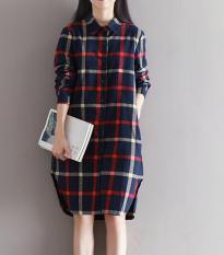 Harga Termurah Longgar Musim Gugur Sastra Baru Kotak Kotak Kemeja Biru Tua Baju Wanita Dress Wanita Gaun Wanita