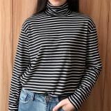 Longgar Musim Semi Baru Tipis Bergaris Horisontal Lengan Panjang T Shirt Hitam Baju Wanita Baju Atasan Kemeja Wanita Asli