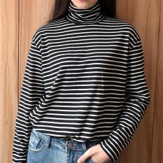 Penawaran Istimewa Longgar Musim Semi Baru Tipis Bergaris Horisontal Lengan Panjang T Shirt Hitam Baju Wanita Baju Atasan Kemeja Wanita Terbaru