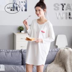 Longgar Musim Semi atau Musim Gugur Sederhana Bisa Dipakai Di Luar Baju Rumah Gaun Tidur (A6433)