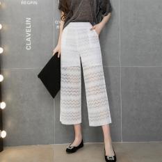 Longgar Musim Semi atau Musim Panas Baru Renda Renda Renda Renda Renda Wanita Celana Cargo Sembilan Celana (Putih)