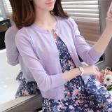 Spesifikasi Longgar Musim Semi Dan Musim Panas Leher Bulat Tipis Sweter Perempuan Mantel Tipis Kemeja Rajut Ungu Online