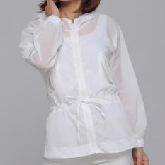 Longgar Pantai Warna Solid Perempuan Setengah Panjang Model Atasan Ruangan AC Baju Pelindung Matahari (Putih)