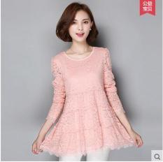 MM Kemeja Renda Ukuran Besar Baju Dalaman Sifon Perempuan Musim Semi Model (Merah muda (ditambah Beludru))
