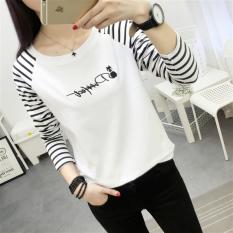 T Shirt Lengan Panjang Longgar Garis Garis Wanita 300 Huruf Kartun 300 Huruf Kartun Di Tiongkok
