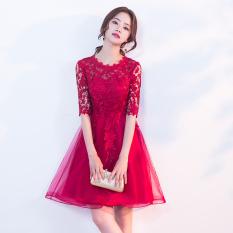 Wanita Hamil Toast Pakaian Gaun Malam Warna Merah Pengantin Wanita Model Baru