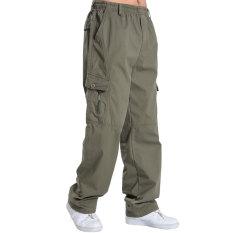 Longgar Pria Ukuran Plus Kode Pakaian Pria Perkakas Celana Multi Saku Celana Kasual (812 Hijau Tentara Warna (dalam Bentuk Warna Yang Lebih Gelap))