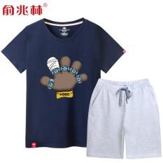 Longgar Pria Anda Meningkatkan Ukuran Bola Keranjang Lengan Bang Pendek Kaos (Biru Gelap (Kobe