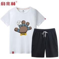 Longgar Pria You Meningkatkan Ukuran Bola Keranjang Lengan Bang Pendek Kaos (Putih (Kobe Bryant Sarung Tangan) + Celana Hitam Pendek (Warna Polos))