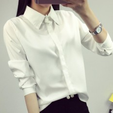 Review Longgar Putih Perempuan Lengan Panjang Perempuan Perkakas Pakaian Kemeja Putih Bagian Tipis Baju Wanita Baju Atasan Kemeja Wanita Blouse Wanita Terbaru