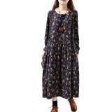 Spesifikasi Longgar Retro Kain Linen Musim Gugur Ukuran Besar Gaun Biru Tua Baju Wanita Dress Wanita Gaun Wanita Lengkap