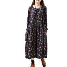 Toko Longgar Retro Kain Linen Musim Gugur Ukuran Besar Gaun Biru Tua Baju Wanita Dress Wanita Gaun Wanita Dekat Sini