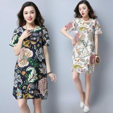 Longgar Retro Kain Linen Yard Besar Setengah Panjang Gaun Model Rok Cheongsam (Biru Tua) baju Wanita Gaun Wanita Gaun Wanita