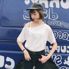 Toko Kaos Wanita Klasik Satu Warna Lengan Pendek Model Ikat Tali Sabrina 1773 Putih Lengkap Di Tiongkok