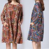 Diskon Longgar Sastra Kain Linen Warna Musim Semi Dan Musim Gugur Gaun Biru Warna Baju Wanita Dress Wanita Gaun Wanita Akhir Tahun