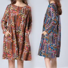 Jual Longgar Sastra Kain Linen Warna Musim Semi Dan Musim Gugur Gaun Biru Warna Baju Wanita Dress Wanita Gaun Wanita Other Asli