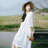 Promo Longgar Sastra Warna Solid Baru Terlihat Langsing Gaun Putih Baju Wanita Dress Wanita Gaun Wanita Murah