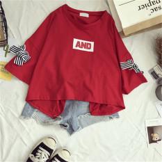 Longgar Sederhana Baru Siswa Yard Besar T-shirt (Merah) baju wanita baju atasan kemeja wanita
