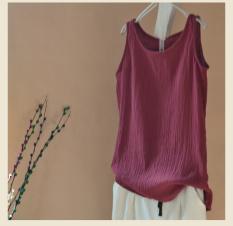 Longgar Sederhana Kain Linen Baru Setengah Panjang Rompi Kecil Baju Dalaman (Arak Anggur Warna)