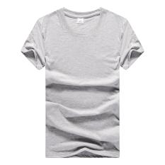 Longgar Sederhana Putih Leher Bulat Musim Panas Baju Dalaman Kaus Kemeja (Abu-abu)