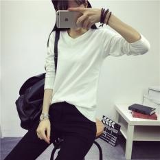 Longgar Sederhana Warna Polos Perempuan Baru Baju Dalaman Kaus (Lengan Panjang Putih)