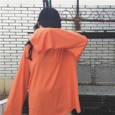 Longgar Sederhana Warna Polos Perempuan Musim Semi atau Musim Gugur Putih Baju Dalaman Kaos (Oranye)