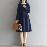 Jual Longgar Sennvxi Kain Korduroi Baru Terlihat Langsing Gaun Biru Tua Baju Wanita Dress Wanita Gaun Wanita Ori