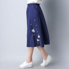 Beli Longgar Sepatu Linen Musim Panas Yard Besar Pinggang Tinggi A Rok Kata Kain Linen Setengah Panjang Rok Biru Baju Wanita Rok Lengkap