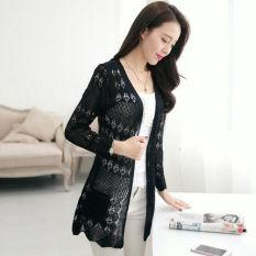 Longgar Setengah Panjang Model Berongga Selendang Rajutan Cardigan (Hitam) baju wanita baju atasan