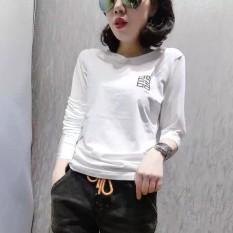 Beli In Korea Fashion Style Katun Wanita Baru Atasan Kaos Lengan Panjang Putih Murah