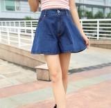 Jual Longgar Terlihat Langsing Kata Celana Rok Mini Pinggang Tinggi Kaki Celana Yang Lebar Biru Baju Wanita Rok Satu Set