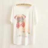 Harga Longgar Versi Jepang Dan Korea Kartun Kaca Mata Pug Ukuran Besar Putih Lengan Pendek T Shirt Putih Asli