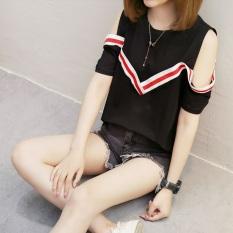 Kaos Wanita Versi Korea Seksi Model Sabrina Lengan Pendek (429 (hitam))