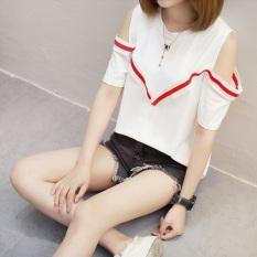 Beli Kaos Wanita Versi Korea Seksi Model Sabrina Lengan Pendek 429 Putih Yang Bagus