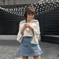Review Longgar Korea Fashion Style Baru Strapless Terompet Kemeja Lengan Kerah Kerah Biru Kerah Biru Oem