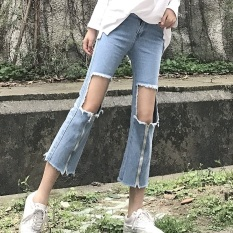Toko Looesn Korean Style Large Zip Raw Cut High Waisted Denim Pants Biru Di Tiongkok