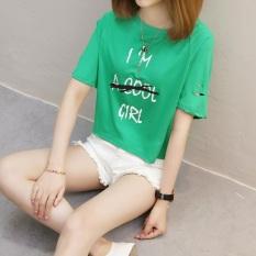 Harga Kaos Wanita Fashion Lengan Pendek Berlubang Gaya Korea 827 Hijau Baru Murah