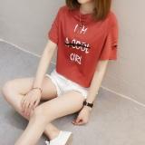 Toko Kaos Wanita Fashion Lengan Pendek Berlubang Gaya Korea 827 Merah Karat Terdekat