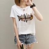 Jual Beli Online T Shirt Lengan Pendek Longgar Wanita Gaya Korea 271 Putih 271 Putih