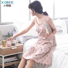 Longgar Wanita Katun Sederhana Ukuran Besar Baju Rumah Wanita Gaun Tidur (Sling Pasta Kacang Merah Titik Gaun)
